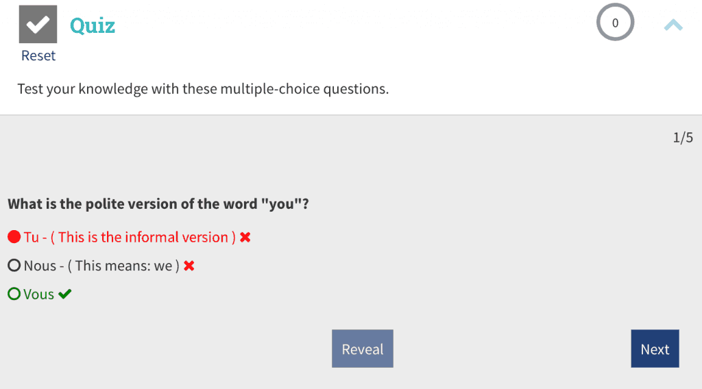 Rocket French quiz