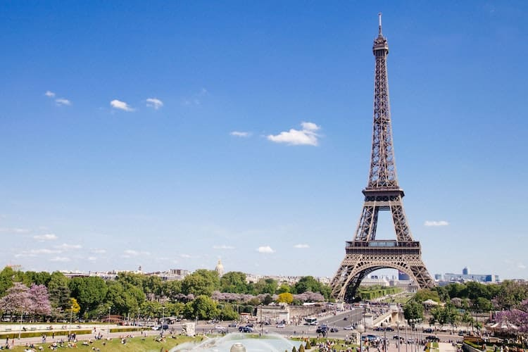 view of the Eiffel tower on a sunny day
