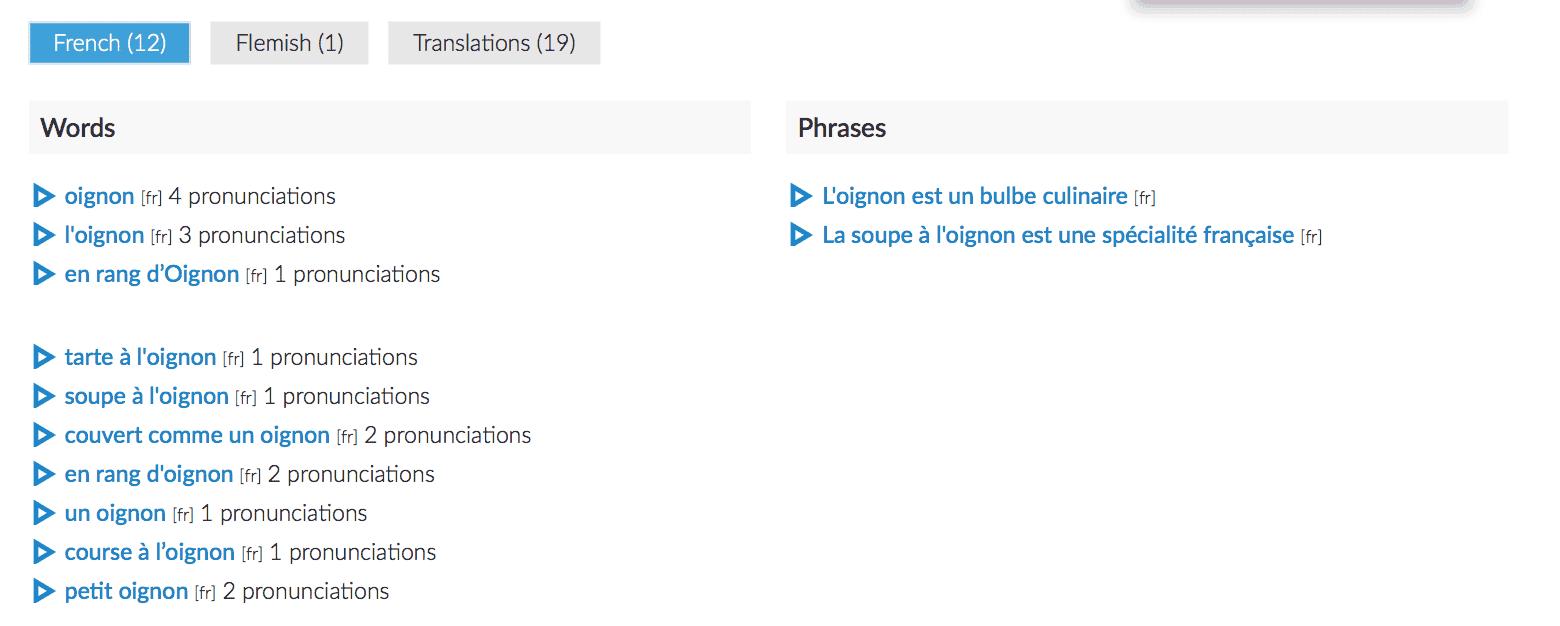 Forvo French pronunciation audio