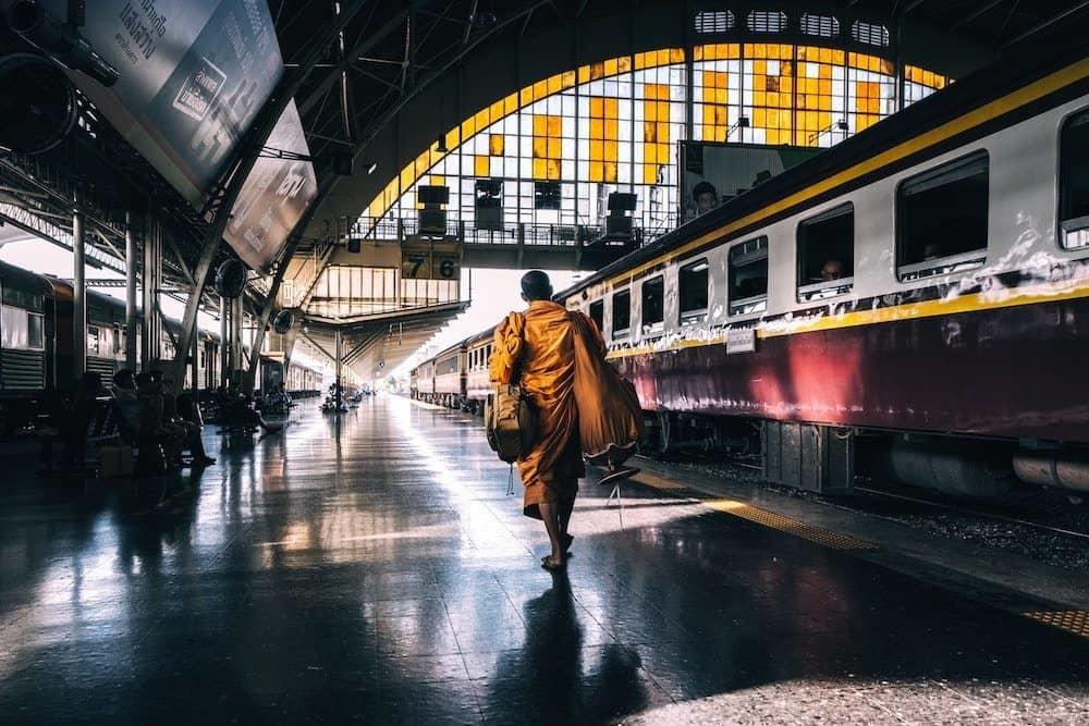 monk catching a train