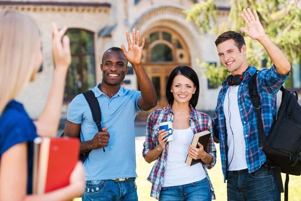 students saying hi