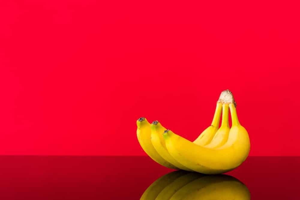 bananas on red background