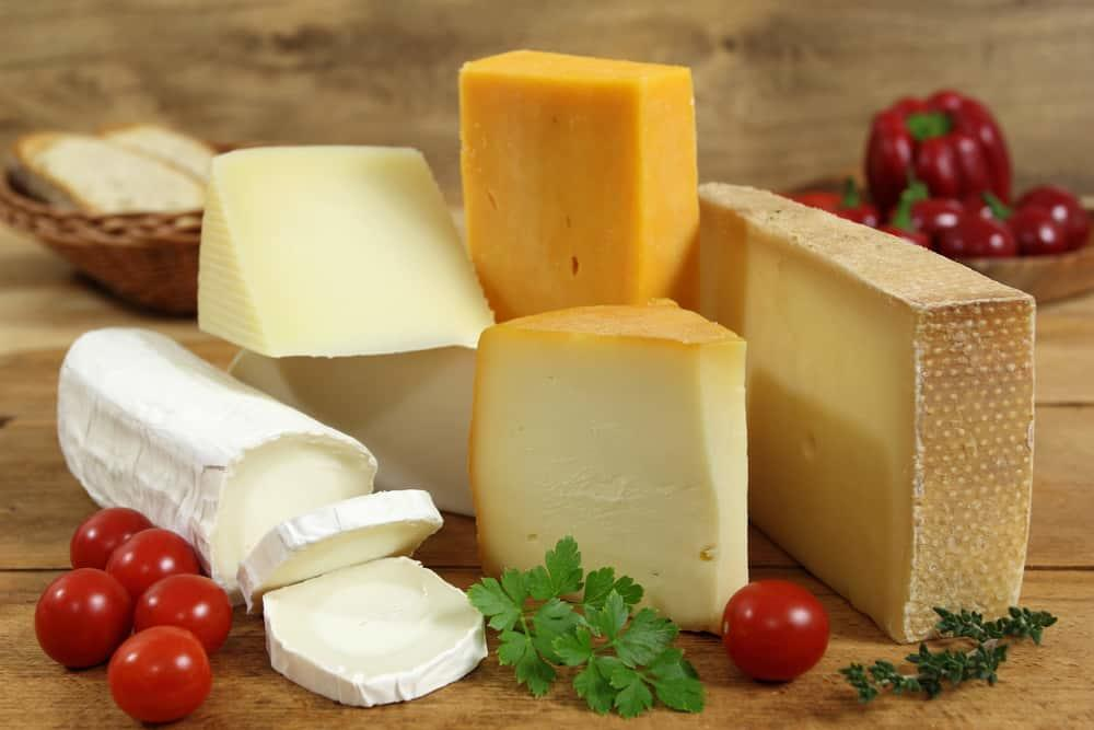 Cheese board - various types of soft and hard cheese.