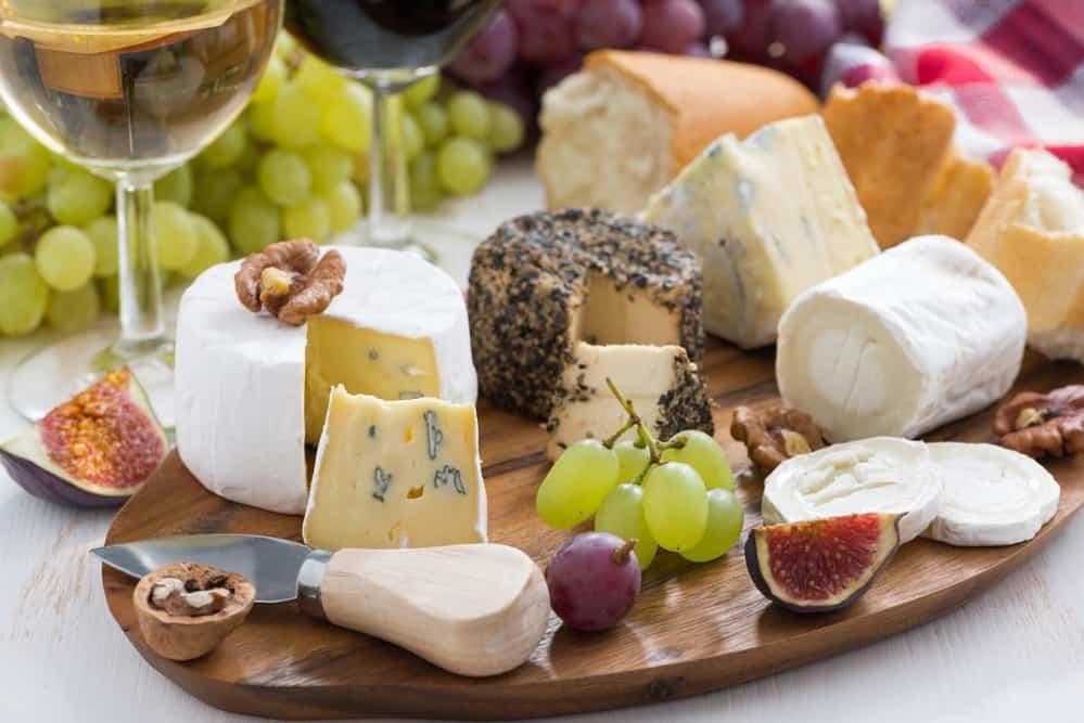 cheese platter, snacks and wine