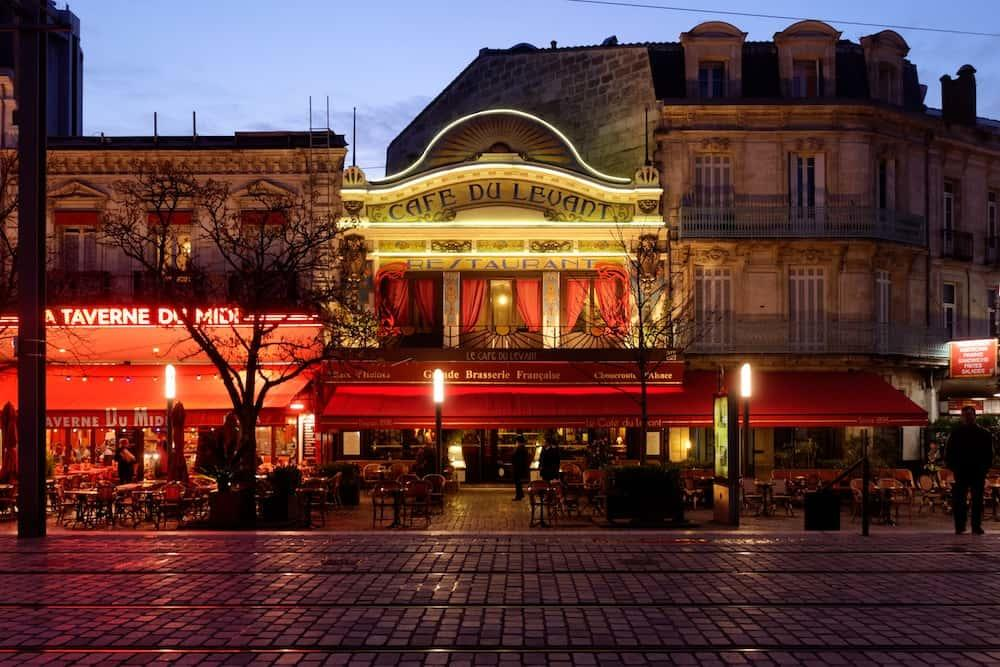 French street in the evening.