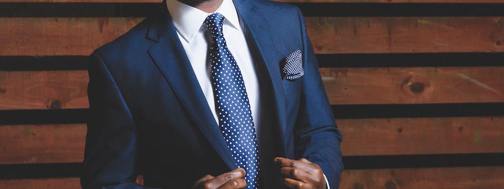 Man wearing formal blue suit