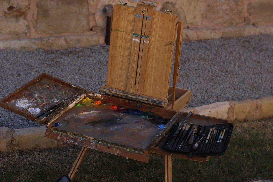 Brown wooden easel