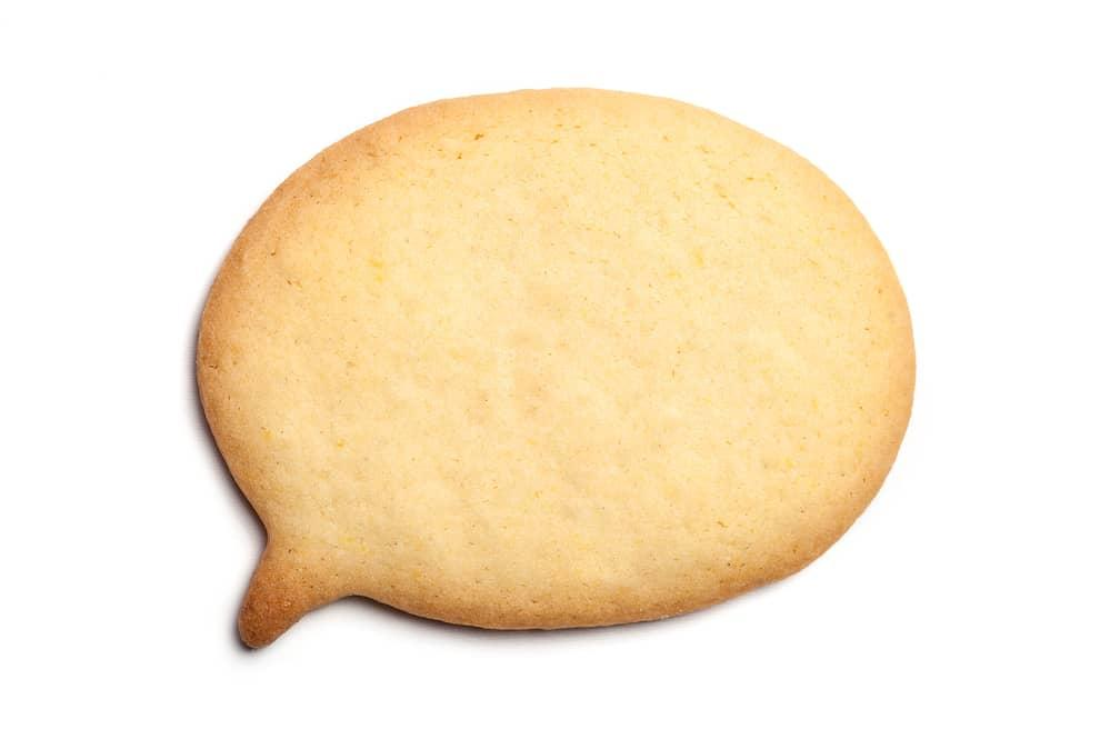 cookie in the shape of a word bubble