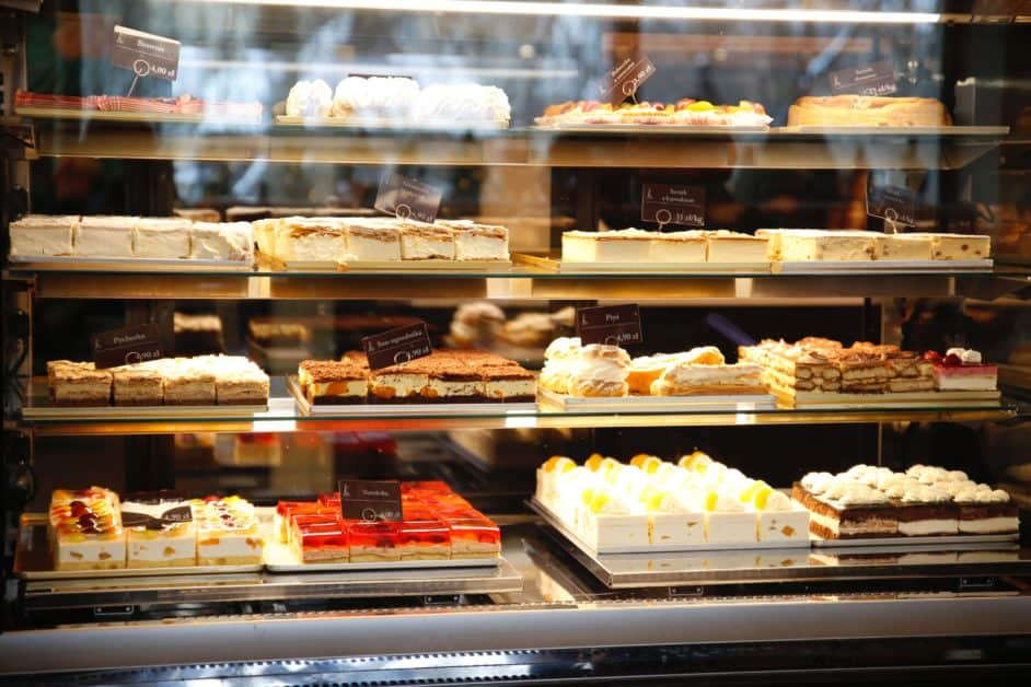 Delicious cakes in bakery