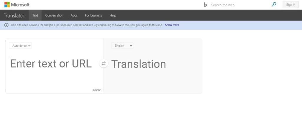 A screengrab from Bing Microsoft Translator.