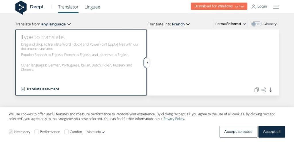 A screengrab from DeepL Translator.