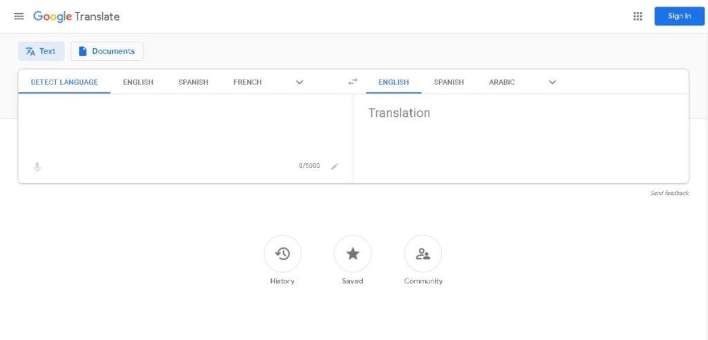 A screengrab of Google Translate.