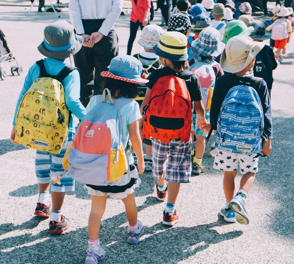 A class of young children wearing backpacks walks somewhere. We see them from the back.