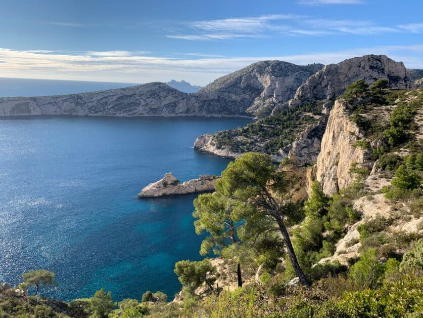 A view of Les Calanques, a series of rocky cliffs near Marseille that are some of the most popular places to tan and swim in France.