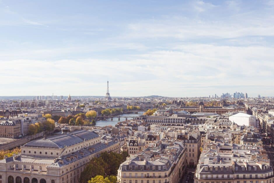 A view of Parisian rooftops with the Eiffel Tower and the business district of La Defense in the distance.