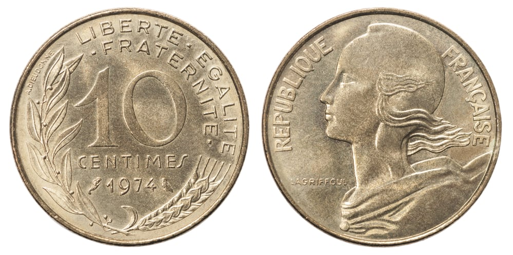 An image of Marianne on a ten-cent French franc.